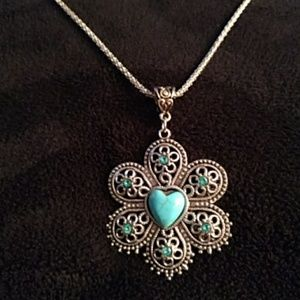 NEW - Necklace - turquoise - heart
